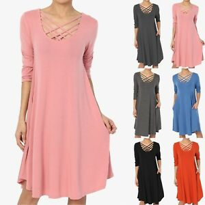 TheMogan-S-XL-Strappy-Scoop-Neck-3-4-Sleeve-Pocket-Trapeze-Flared-T-Shirt-Dress