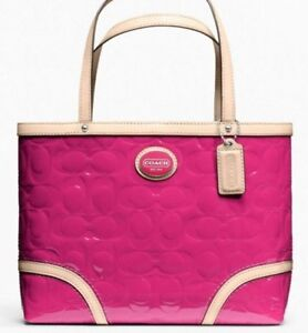 94be0cb6f74d6 NWT COACH 22322 PEYTON EMBOSSED PATENT LEATHER MAGENTA HOT PINK TOTE ...
