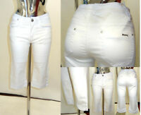 New Womens Ladies 3/4 Stretchy Cotton White Shorts Capri Cropped Plus Size Jeans