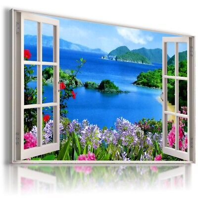 GREEN FIELD SUNRISE TREES FOREST 3D Window View Canvas Wall Art W669 MATAGA