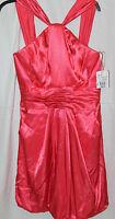David's Bridal Y-neck Charm Formal Dress Color Guava Size 6 Bubble Hem
