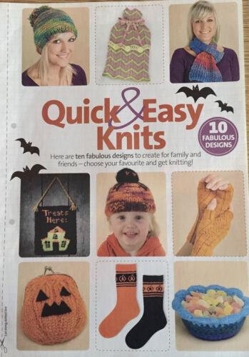 10 Quick /& Easy Knits KNITTING PATTERN Pumpkin Purse Fingerless Gloves Halloween