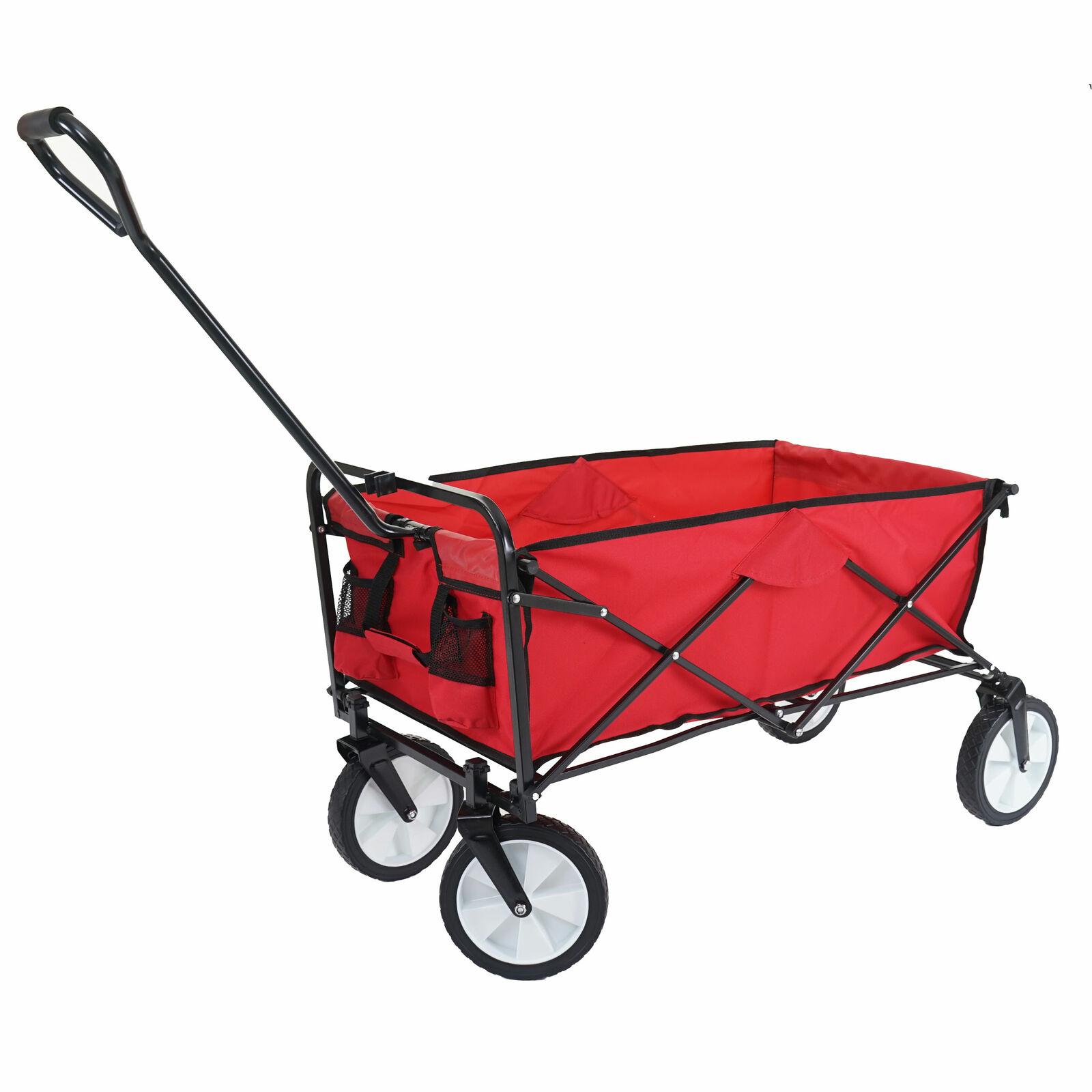 Faltbarer Bollerwagen HWC-E38 Handwagen klappbar ohne ohne ohne Dach Hecktasche rot 9d5835