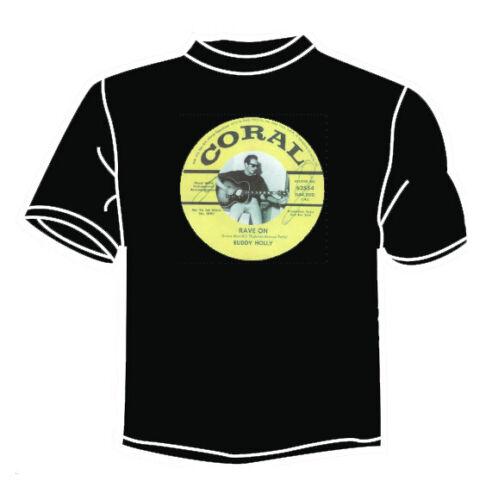 BUDDY HOLLY RAVE ON BLACK T SHIRT CORAL ROCK N ROLL TEDDY BOY ROCKABILLY