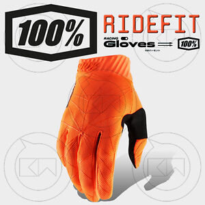 GUANTI-100-RIDEFIT-MX-FLUO-ORANGE-BLACK-ADULTO-MOTOCROSS-ENDURO-OFFROAD-ATV-MTB