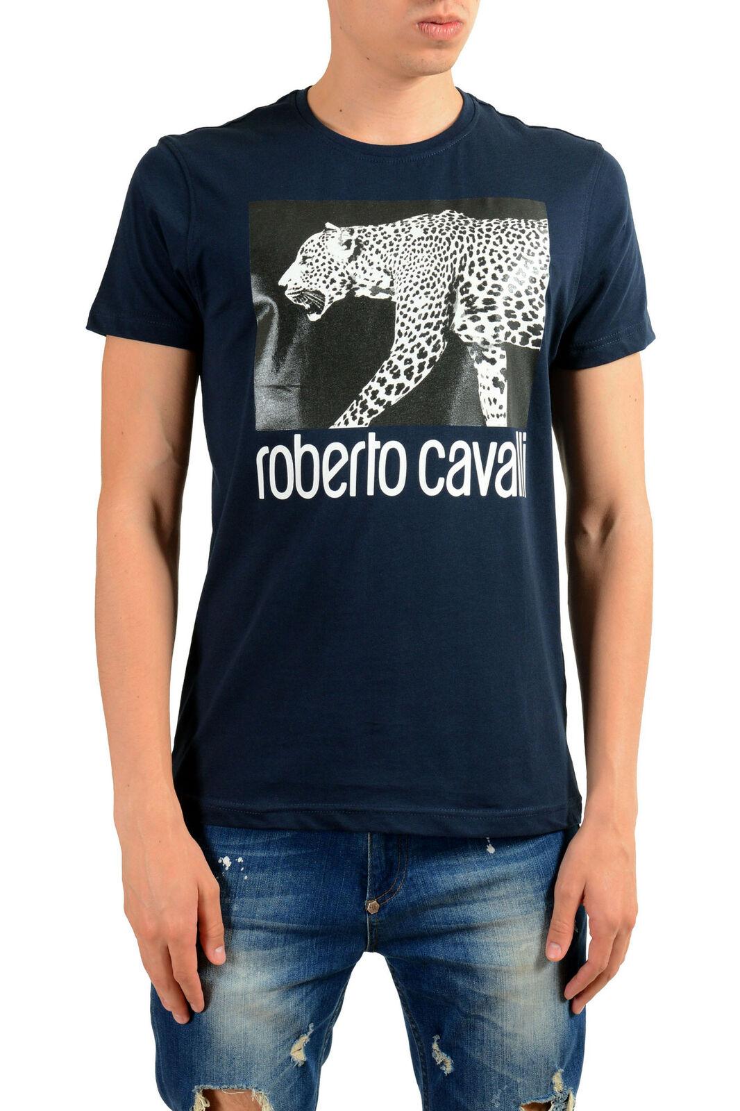Roberto  Cavalli Hombre Azul Estampado Gráfico Leopardo Camiseta Talla S M L XL  edición limitada en caliente