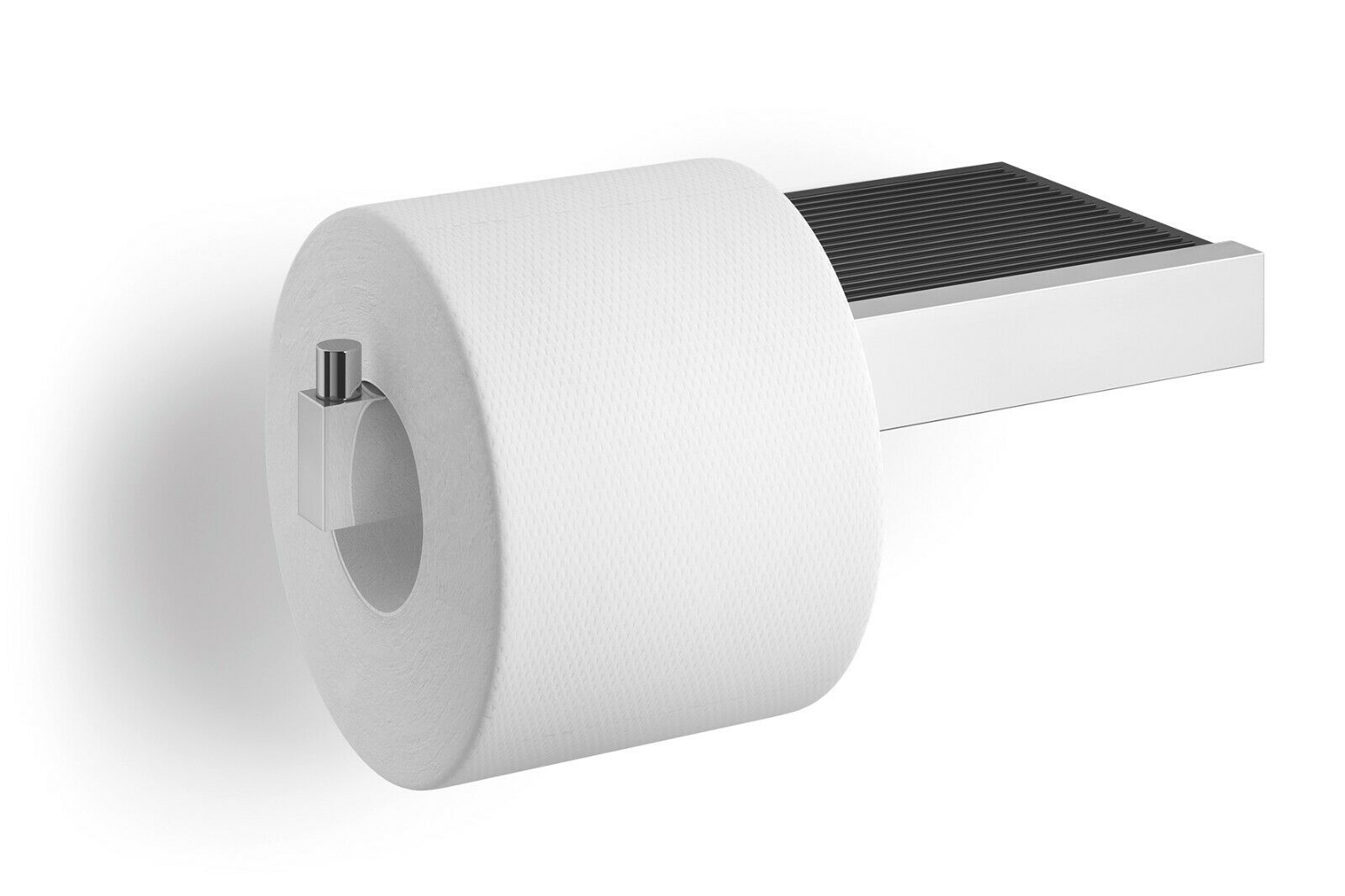 Zack Linea Polished Stainless Steel Toilet Roll Holder with Shelf 40407