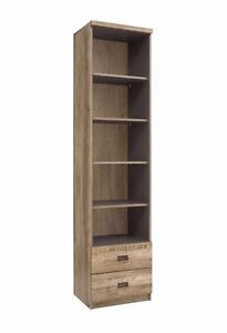 timeless design 04c89 b5092 Details about Tall Bookcase Shelving Unit Drawers Oak Grey Furniture  Storage Cabinet Malcolm