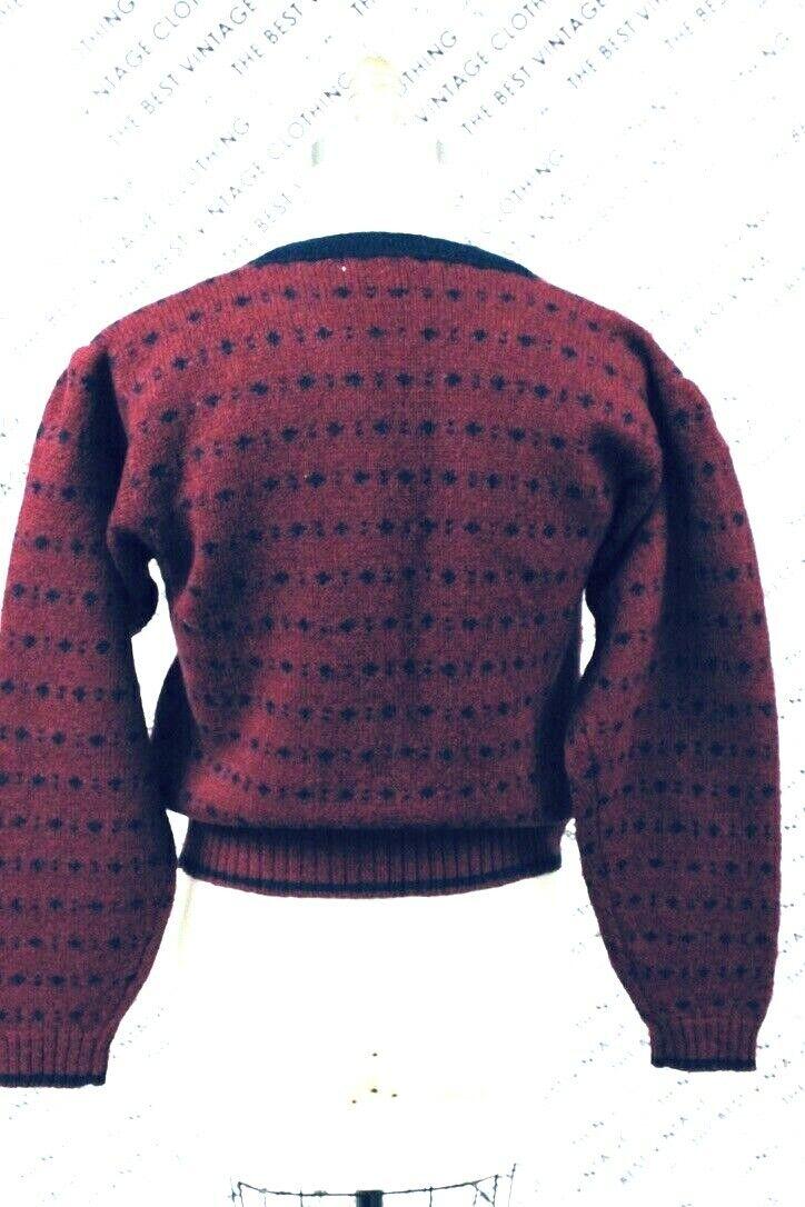 VTG Herman Geist Sweater Cardigan Red/Blue Wool M… - image 5
