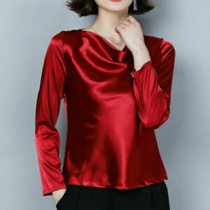 Lady Satin Shirt Blosue Faux Silk Pullover Tops Cowl Neck Long Sleeve Shiny US M
