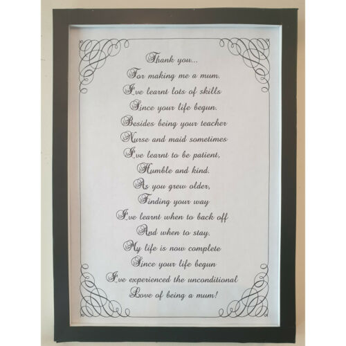 A4 Thank You For Making Me A Mum Poem For Son Daughter Teenager Adult