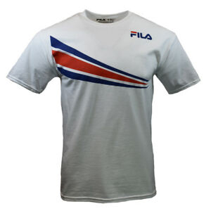 FILA-Mens-T-Shirt-S-M-L-XL-2XL-Athletic-Sports-Apparel-Graphic-Tee-WHITE-RED-NEW