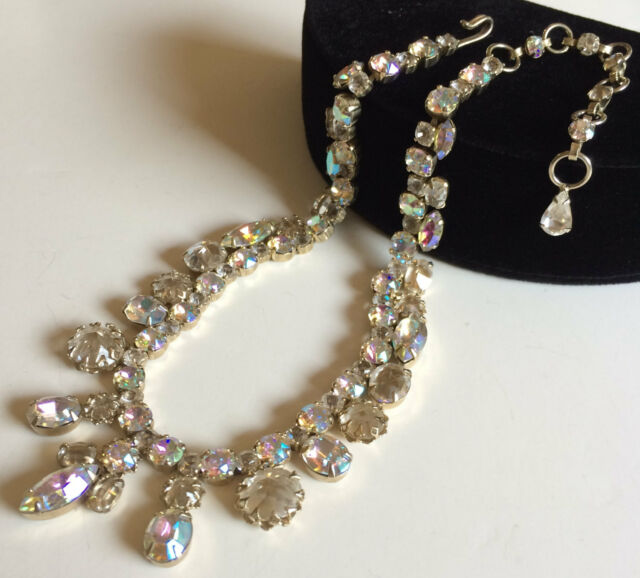 Vintage Schreiner Necklace~Clear Glass/Aurora Borealis/Clear RS/Gold Tone~Signed
