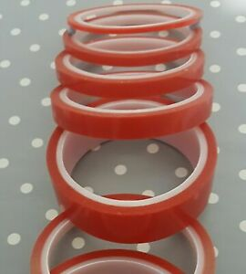 SELF ADHESIVE 3M VHB DOUBLE SIDED TAPE ROLL VERY STRONG CLEAR MOUNTING RED TAPE