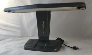 VTG-Gray-Steel-Metal-Art-Deco-Mid-Century-Industrial-Desk-Lamp-Moe-Lighting