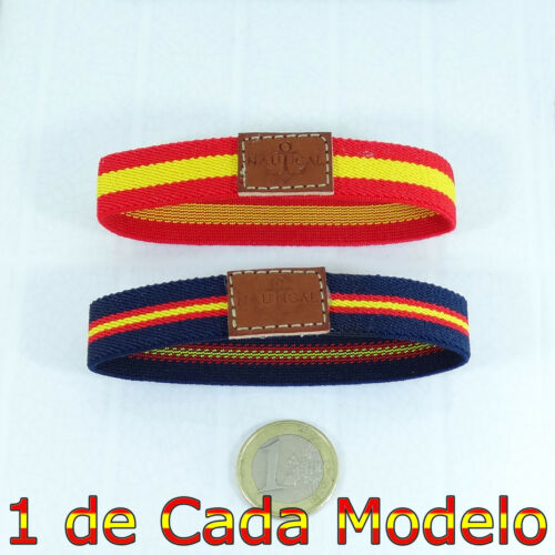 1 Bracelet Nautical Flag 18cm Made in Spain Elastic and Leather Size One Size