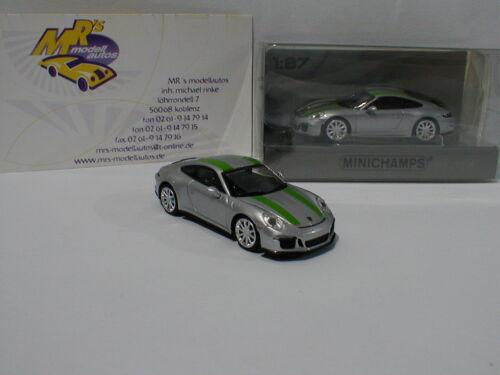 991 r año 2016 plata//verde rayas 1:87 Minichamps 870066225-Porsche 911