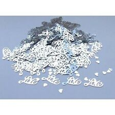 """""""LOVE"""" Silver Wedding Confetti Table Decoration Sprinkles Party Anniversary etc"""