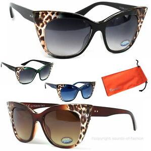 Damen-Cat-Eye-Sonnenbrille-Oversize-XL-Pin-Up-Rock-Weiss-Braun-Blau-Schwarz-Etui