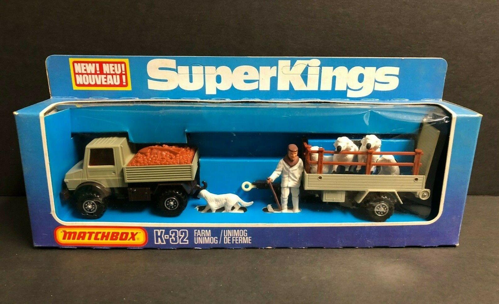 Vintage 1978 Matchbox Super Kings Farm Unimog K-32 K32  non perforé & CLEAN box