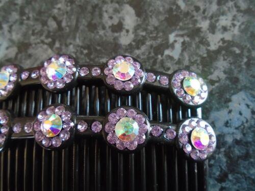 Pack 2 hair combs black plastic colour diamante stones 9.5cm love heart slide