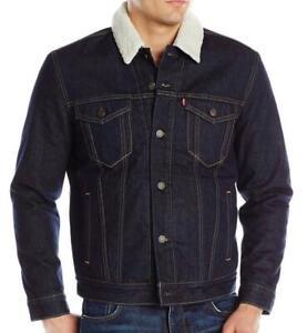 Levi's Men's Premium Button Up Denim Sherpa Jeans Trucker Jacket 705980027