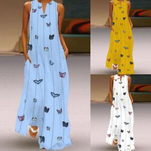 P-D-Damen-V-Ausschnitt-Maxikleid-Boho-Strandkleid-Urlaub-Kleider-Sommerkleid