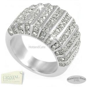 Engagement-Ring-Genuine-Swarovski-Swarovski-Crystals-Stainless-Steel-316L-Silver