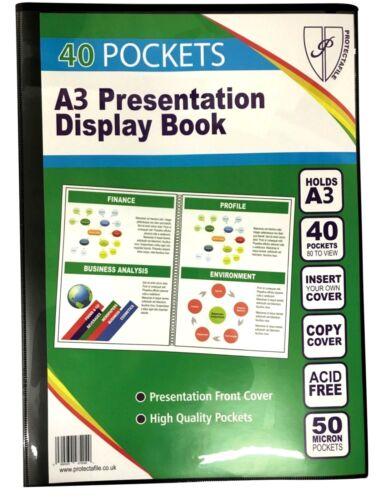 BLACK A3 DISPLAY BOOK 40 POCKET PRESENTATION FLEXI COVER PORTFOLIO FOLDER