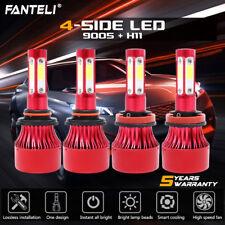 4 Bulbs Kit H11 9005 6000K LED 4480W 672000LM Combo Set Headlight High Low Beam