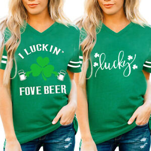 Womens-ST-Patrick-039-s-Day-Green-V-Neck-Short-SleeveTank-Tops-T-Shirt-Blouse-Loose
