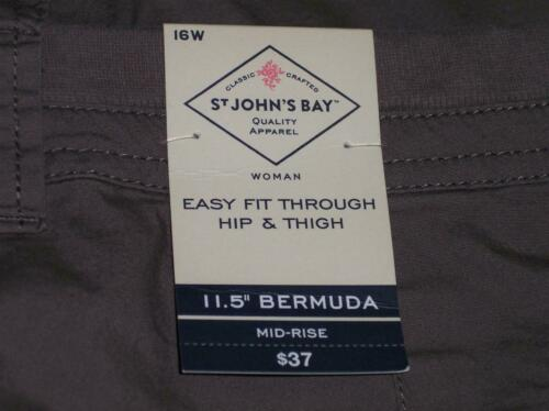 NWT St Johns Bay Easy Fit Stretch Cargo Bermuda Shorts 14W 16W 20W Taupe Shadow