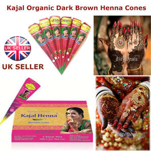Organic Kajal Dark Brown Henna Bridal Mehndi Tattoo Cone 100 Fresh