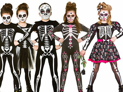 Day of the Dead Mermaid Tights Girls Fancy Dress Halloween Childs Kid Costume