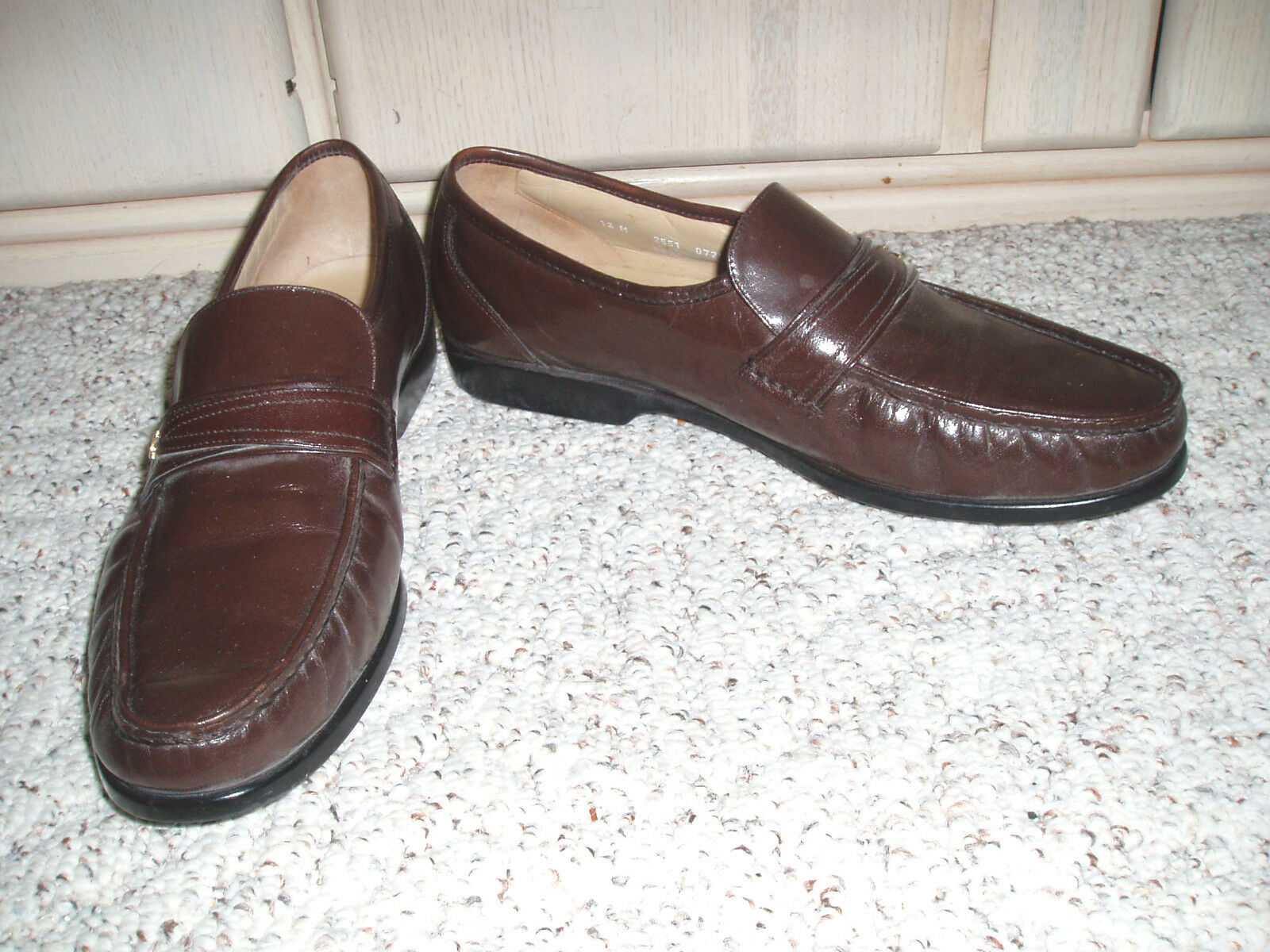 Men's HANOVER Softech Softech Softech Leather Loafer Shoes~Brown~Size 12 M cb69fa
