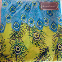 40 George Stanley Peacock Feathers Paper Beverage Napkins. Pack 40. Gorgeous