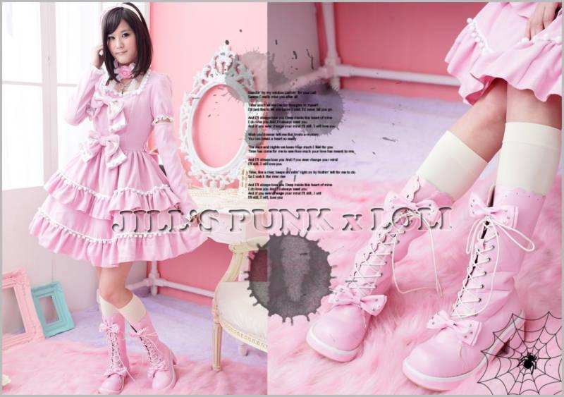 Punk Lolita 11-Hole Bows Bows Bows Studs Boots 10 10.5 PINK 43 2068 cabad5
