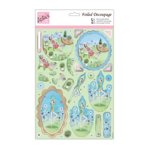 ANITAS FOILED DECOUPAGE RELAX TOPPERS FOR CARDS /& CRAFTS