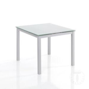 Dettagli Su Tomasucci Tavolo Allungabile New Daily 90 White Piano Vetro Temprato Bianco