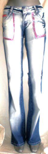 40 e 42 Pantaloni Bootcut Stretch Denim Baumwol JEANS Da Donna Crazy Girl nelle misure 36