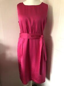 Hobbs-Fuscia-Vestido-lapiz-sin-mangas-de-color-rosa-talla-18-Botones-De-Mezcla-De-Algodon-De-Seda