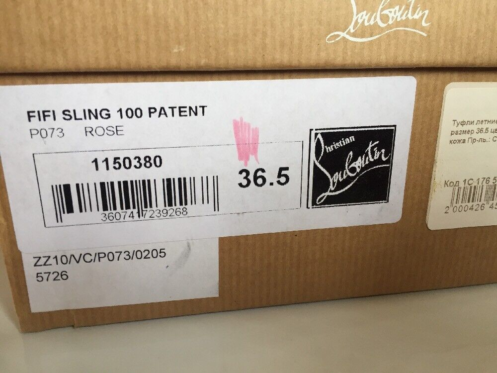 CHRISTIAN LOUBOUTIN LOUBOUTIN LOUBOUTIN Slingback 36,5 FIFI 100 Rosa Rosa Patent Simple NIB AUTH a44b7c