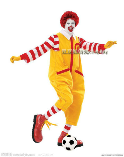 Ronald McDonald Costumes Suit Adult Funny Cosplay Outfit Christmas Halloween