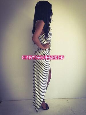 Sexy Women  Black &White Striped Sleeveless Bandage Bodycon Casual Party Dress