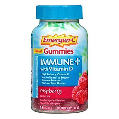 Emergen-C Gummies Immune Plus Vitamin D Raspberry 45 Gummies Each
