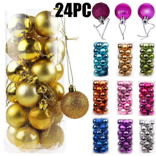 24PCS Christmas Xmas Tree Ball Bauble Home Party Ornament Hanging Decor 30mm //AN