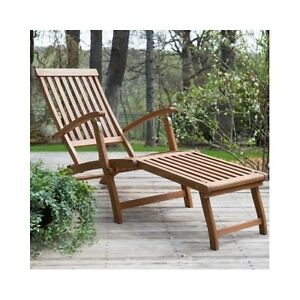 Deck Chaise Lounge Chair Lounger Steamer Patio Pool Wooden Outdoor