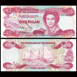 bahamas 3 dollars 1974 1984 p 44 unc ebay