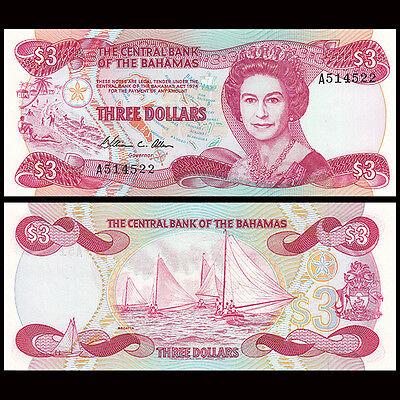 Bahamas 3 Dollars Prefix A P-44a Unc Currency Banknote ***USA SELLER***