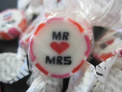 100 Mr & Mrs. Wedding day/Candy/Rock/Sweets. Great Table Gifts/Favours, pink/red